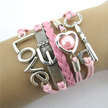 2018 Gofuly New Design Infinity LOVE Heart Eiffel Tower Friendship Leather Charm Bracelet Wrist Bands Wedding Women Girl Je(China)