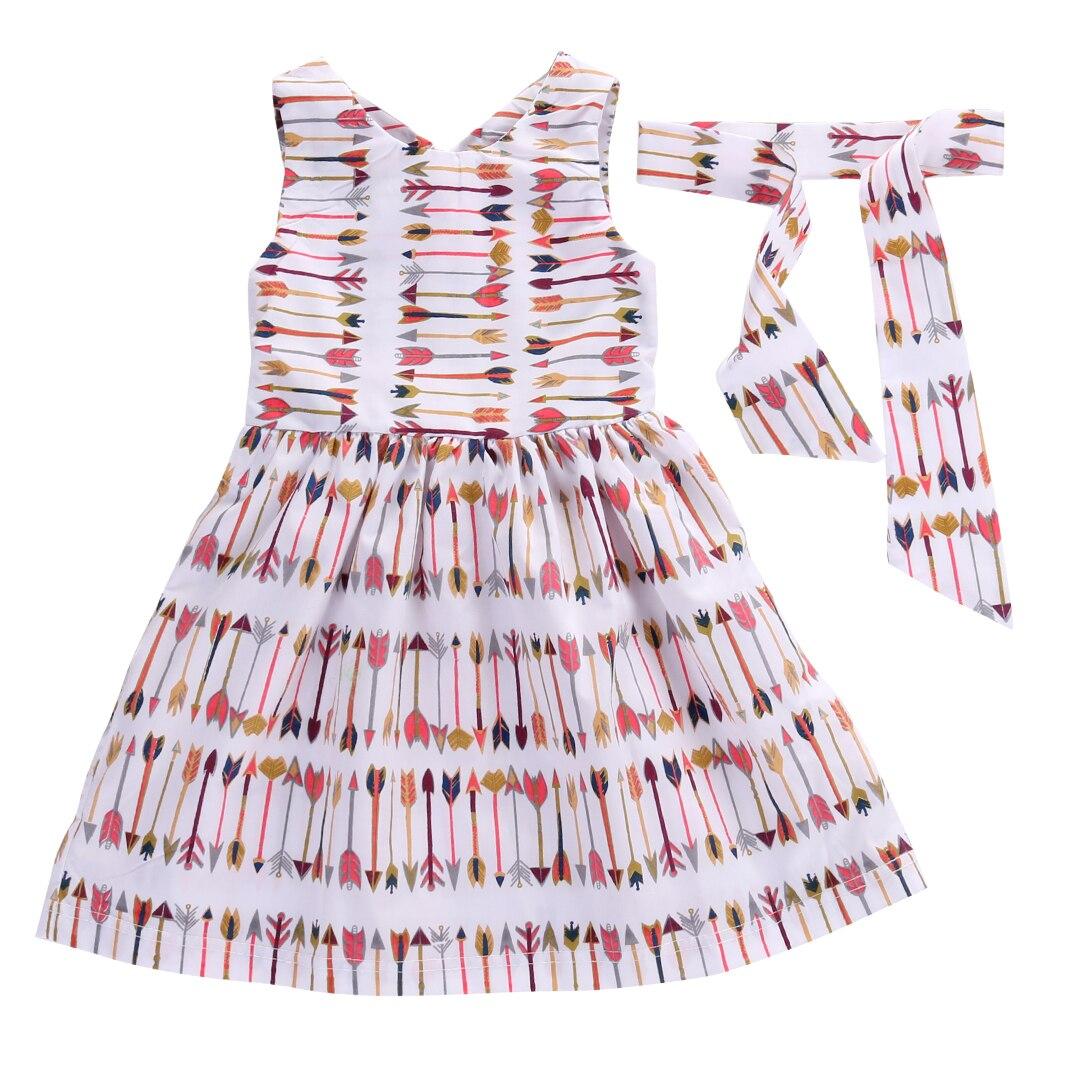 Helen115 Pretty Kids Baby Girls Summer Arrow Printed Sleeveless Leak Back Dresses+Headband 2-7Y