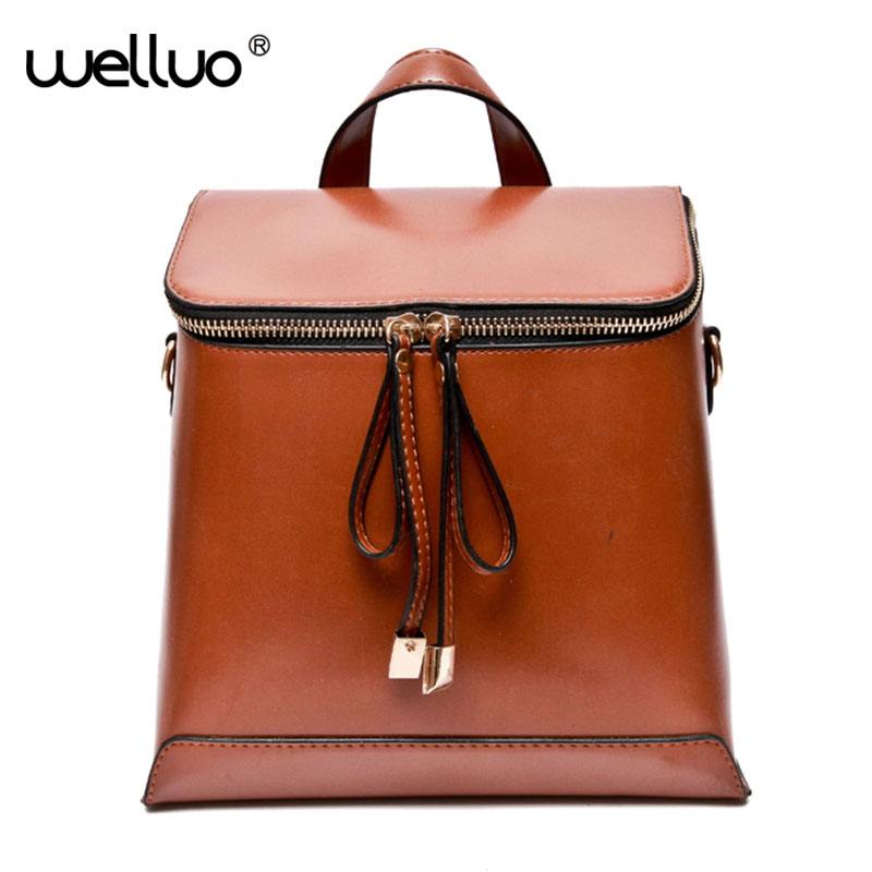 Women Backpack Vintage Oil Wax Pu Leather Backpack Female School Bags for Teenage Girls Shoulder Bags Rucksack Solid Color XA1WB
