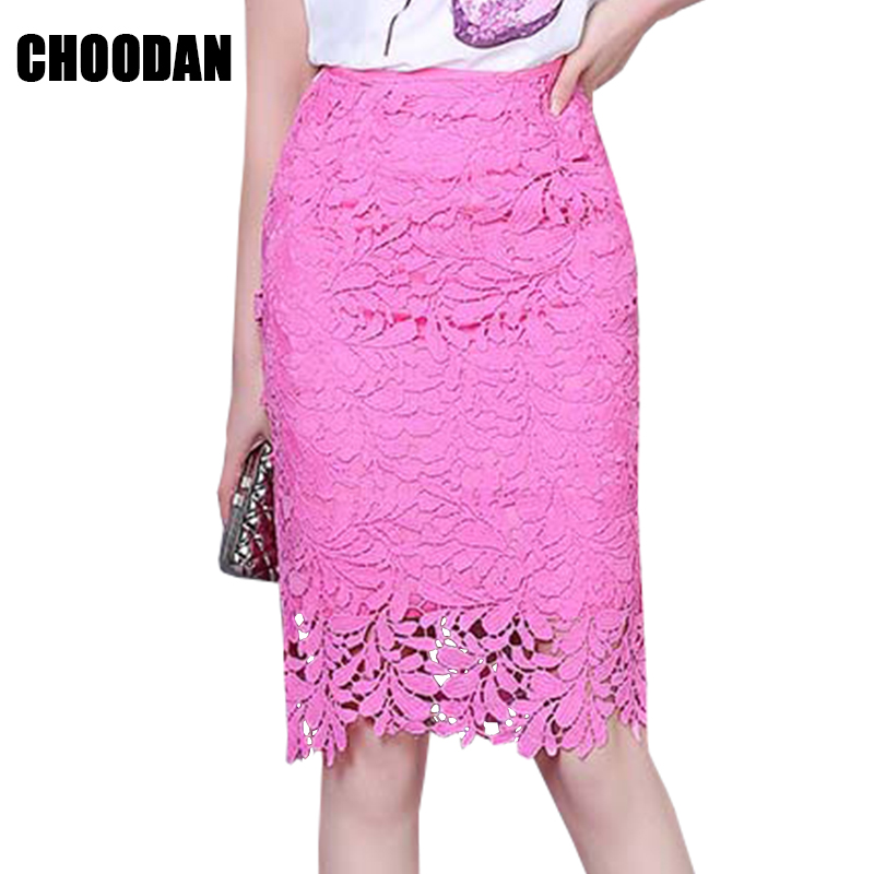 Lace Skirt Clothing Office Hollow-Out Elegant Korean-Style High-Waist Women Summer Ladies