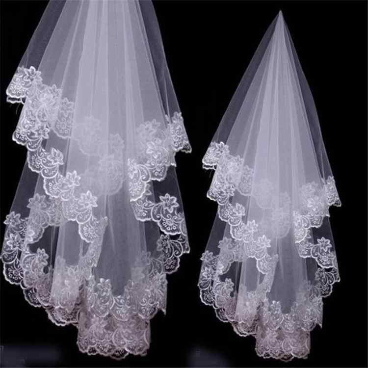 White//Ivory Lace Applique Edge One Layer 1.5 M Long Wedding Veil//Bridal Veil//Bridal Accessories Cheap-White