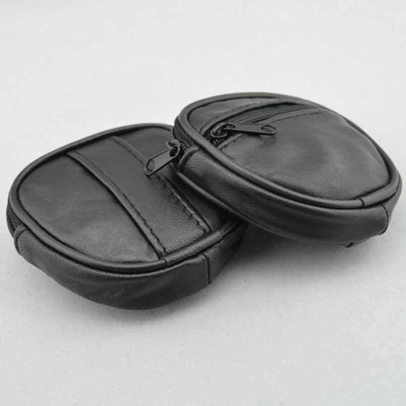 Mini Bolsa Da Moeda Da Carteira de Couro Genuíno dos homens Cinto Loops Bolso Saco de Moeda Caso Chave Anel Preto frete grátis