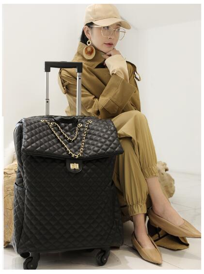 Brand Women Carry On Luggage Bag Cabin Travel Trolley Bags On Wheels Rolling Luggage Bag For Women Trolley Suitcase Wheeled Bag