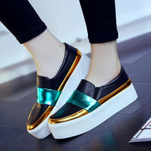 2017 Spring Fall Fashion Flat Women's Loafers Shoes Platform Spell Color Single Shoes For Female Comfort Shoes Black White XP35