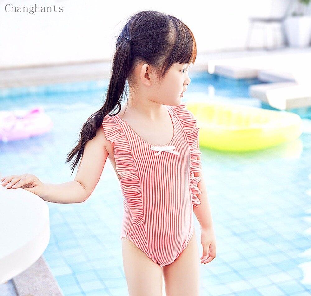 Nowe dziewczęce kostium kąpielowy w paski z falbankami Ramię i - Ubrania sportowe i akcesoria - Zdjęcie 3