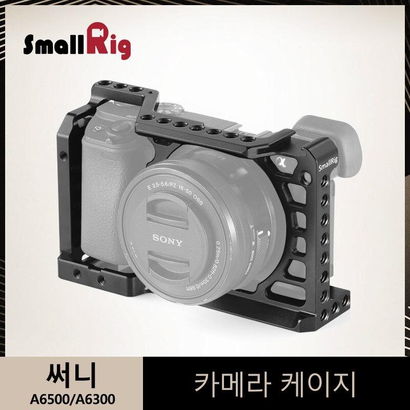 SmallRig a6500 jaula para Sony A6500/A6300 protección cámara DSLR con jaula fría de montaje 1/4 3/8 agujeros roscados-1889