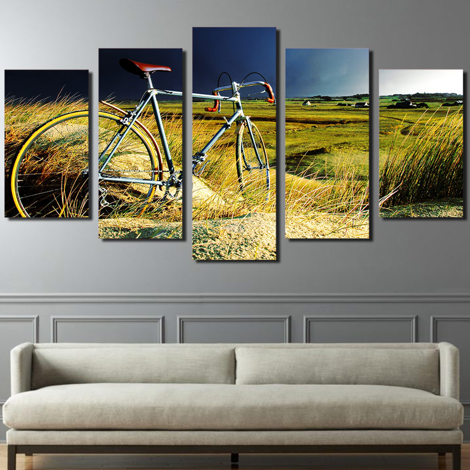 Poster Canvas Art Print Painting 5 Panel Bicycle Landscape Wall ...