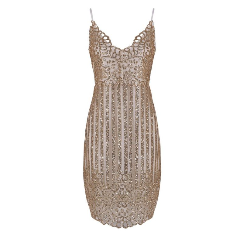 Sexy Party Night sequin summer dress Women V-neck elegant vintage dresses Shinning Gold sequined Flower Lace Dress    4