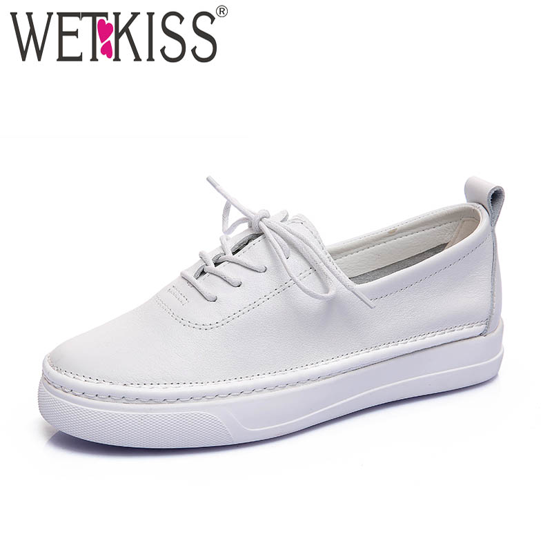WETKISS Casual Genuine Leather Women Flats Lace Up Flat Platform Round Toe Footwear Spring Fashion Ladies Sneakers White Shoes