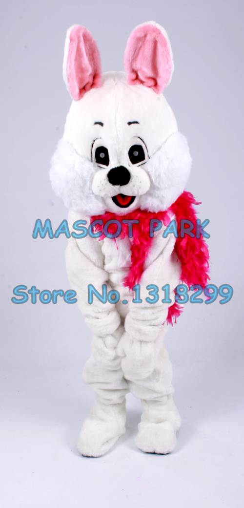 Mascotte mignon lapin blanc mascotte COSTUME adulte taille dessin animé personnage pom-pom girls lapin carnaval fantaisie robe costumes kits