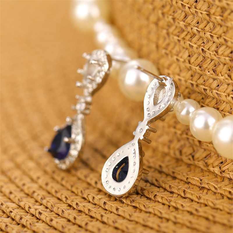 (Free Shipping) Blue Crystal Pendant Earrings Women's Jewelry 2018 New Popular Ear Stud Accessories