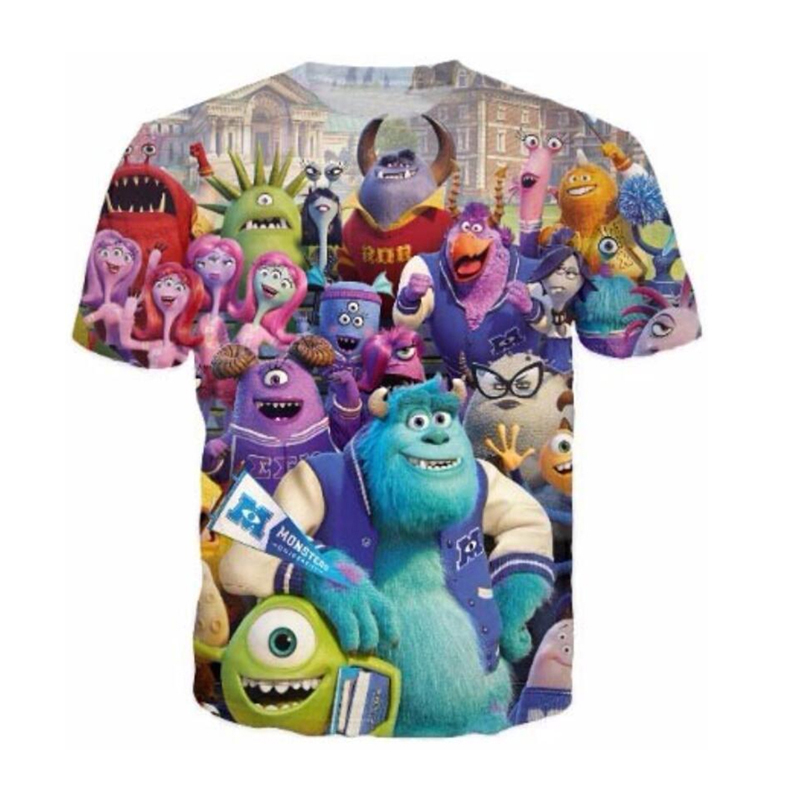 2018 New men/women's 3D funny t-shirts printed Monsters University tee tops Cartoon Character short sleeves t-shirts