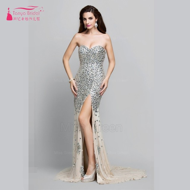 cf58bb328bf9 Mermaid Long Prom Dress Heavy Beads Sequins Side Split Sexy Fashion Designer  Evening Gown Real Photos Formal Dress ed20012
