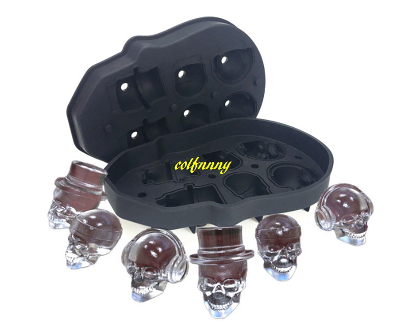 20pcslot 6 ice lattice Skull Head Ice Mold Ice Cream Makers Silicone Ice Cubes Drinks Whiskey Beer Bar Chillers Coolers