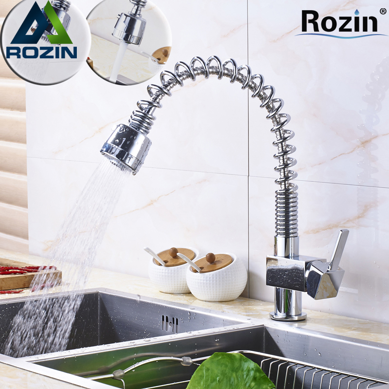 Bright Chrome Deck Mounted Kitchen Spring Faucet Pull Out Sprayer Stream Deck Mounted Hot and Cold Mixer Taps