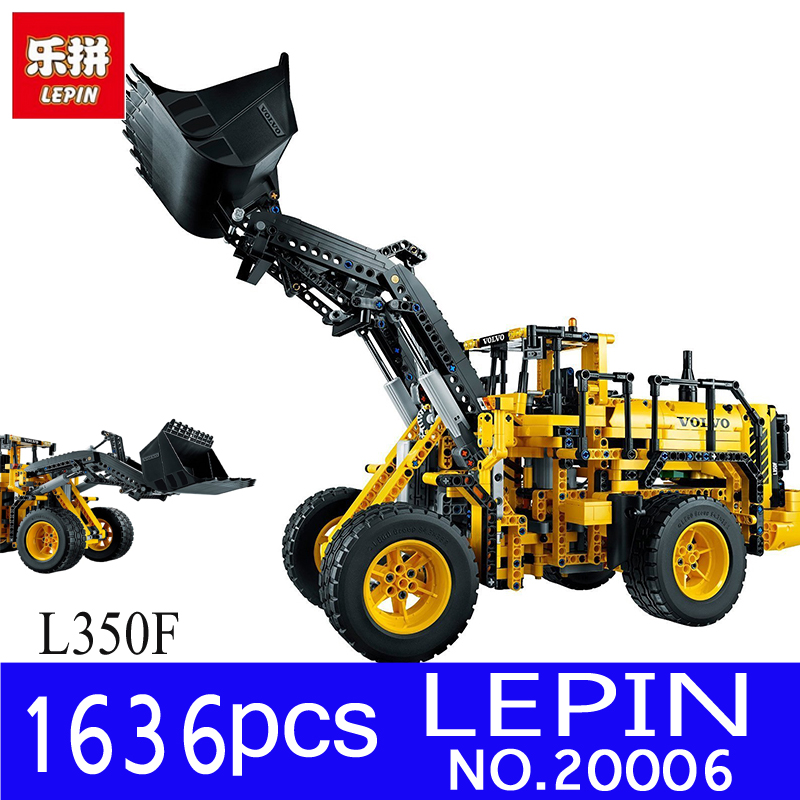 LEPIN 20006 1636Pcs Technic Series Volvo L350F Wheel Loader Model Building Blocks Bricks Children Toy Gift Compatible with 42030 lepin 20006 technic series volvo l350f wheel loader model building kit blocks bricks compatible with toy 42030 educational gifts