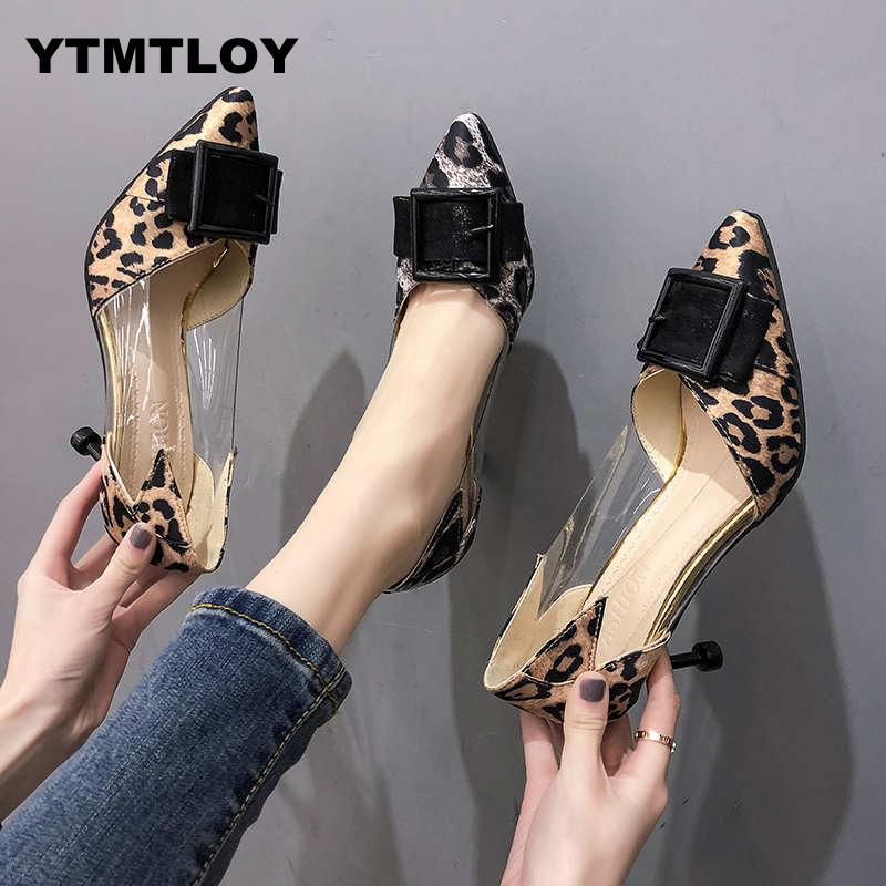 2019 New PVC Leopard  Women Pumps Summer Fashion Sexy Pointed Toe Wedding Party Shoes Woman Sandals Zapatos Mujer  High Heels