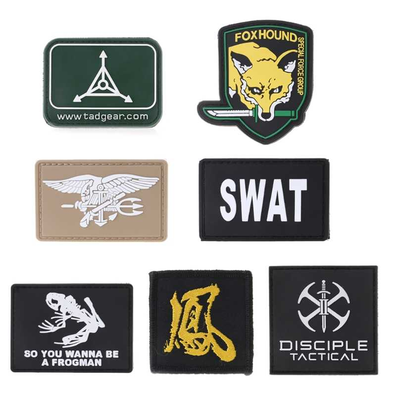 Military Tactical Armband PVC Rubber Morale Patch Hat Badge Hook Brassard  Emblem new f7778436961