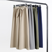 2019 Spring /summer Women High Waist Wide Leg Pants Belted Women Elegant Loose Trousers G397 self belted floral peg pants