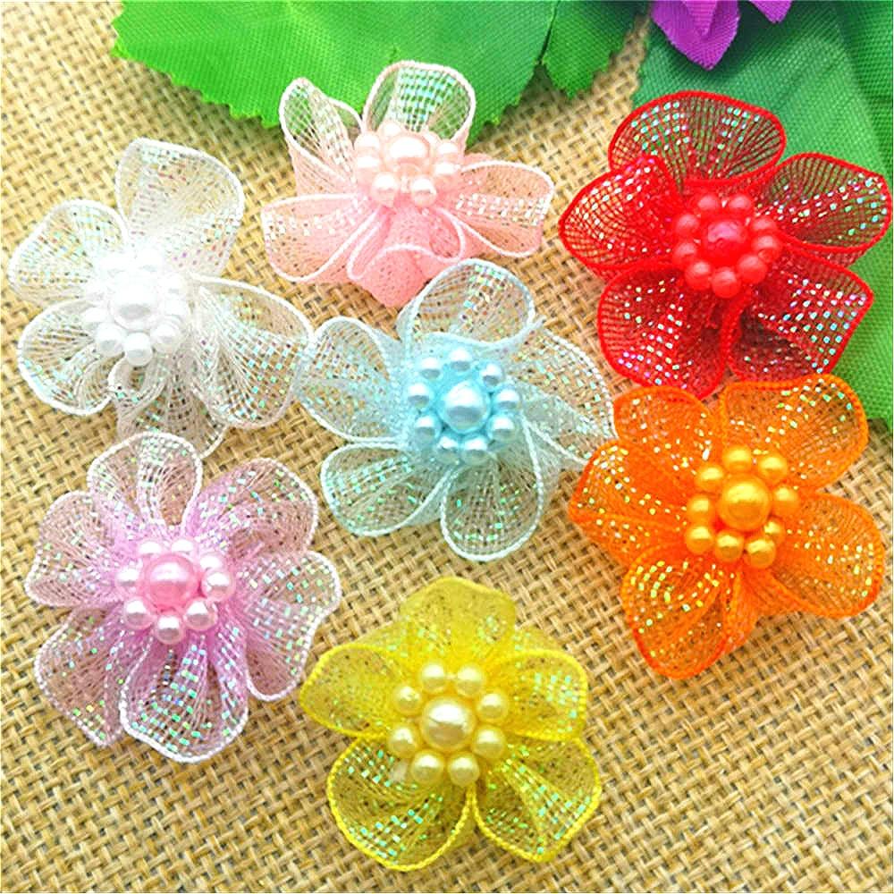 20PCS 4cm Silver Satin Ribbon Flowers rhinestone Beads Appliques DIY Crafts