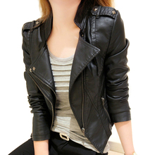 Short Style Slim Leather Women Spring Fall Locomotive PU Leather Stand Collar Zipper Fashion Jacket Coat Slim small leather jack