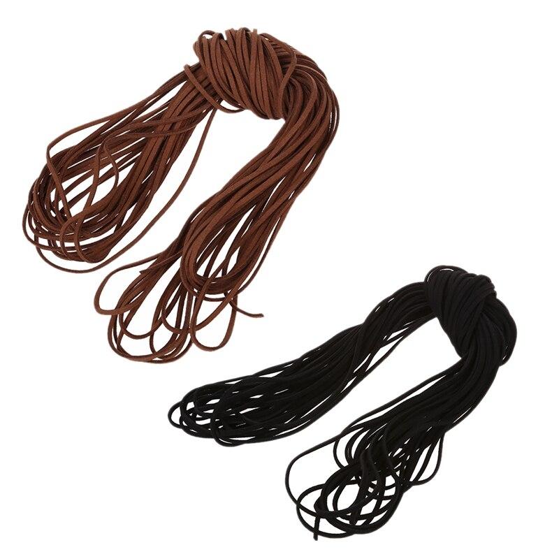 2 PCS 16.65 - 18.655 M 2 Mm Brown & Black Leather Strap Leather Thong Flat DIY