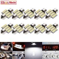 lamp dc 12v 10Pcs 28mm LED Bulbs Car Interior Festoon Dome Map Reading Light Auto Door Trunk License Plate Lights Lamp Cold White 12V DC (1)