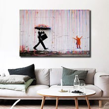 Color Rain By Banksy Canvas Painting Print Bedroom Home Decoration Modern Wall Art Oil Poster Salon Picture Framework