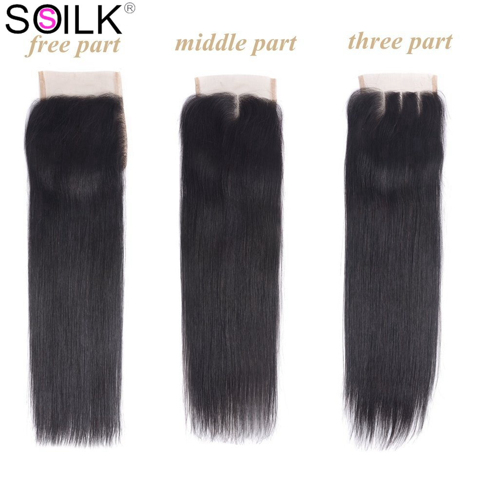SO Silk 100% Brazilian Human Hair Straight 4*4 Lace Closure Natural Color Remy Hair Weaving Lace Frontal Closures