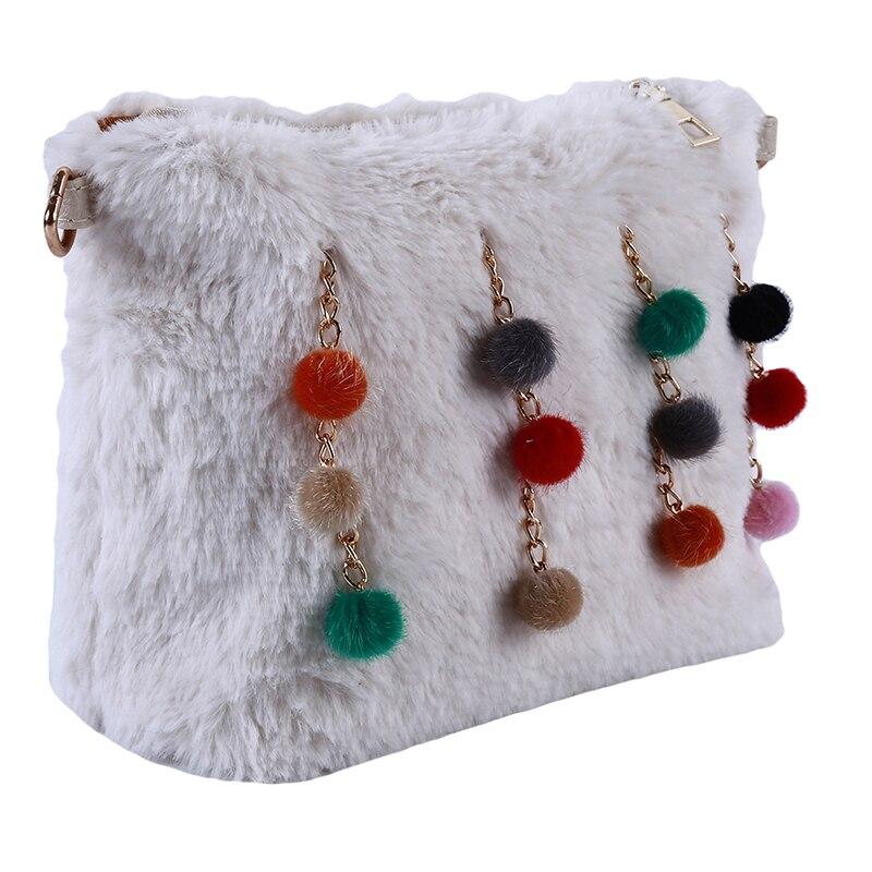 Korean Style Cute Simple Hair Chain Ladies Messenger Bag Fashion Fur Bag Wild Personality Ball Tassel Shoulder Bag