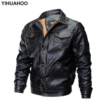 YIHUAHOO Leather Jacket Men Casual Vintage Winter Faux Fur Thick Velvet Fleece Suede Motorcycle PU Leather Coat For Men FC-888H