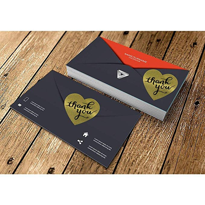 Gold Heart shape thank you Stickers seal labels 1inch roll 500 Labels stickers scrapbooking for Package stationery sticker in Stationery Stickers from Office School Supplies