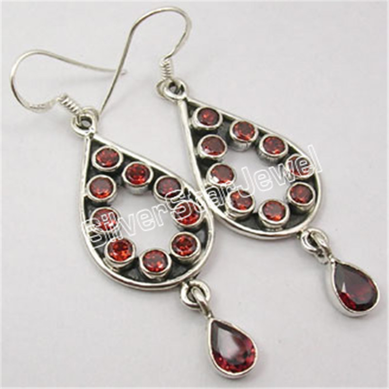 Silver REAL GARNETS PERIDOTS GORGEOUS Dangle Earrings 5.4CM