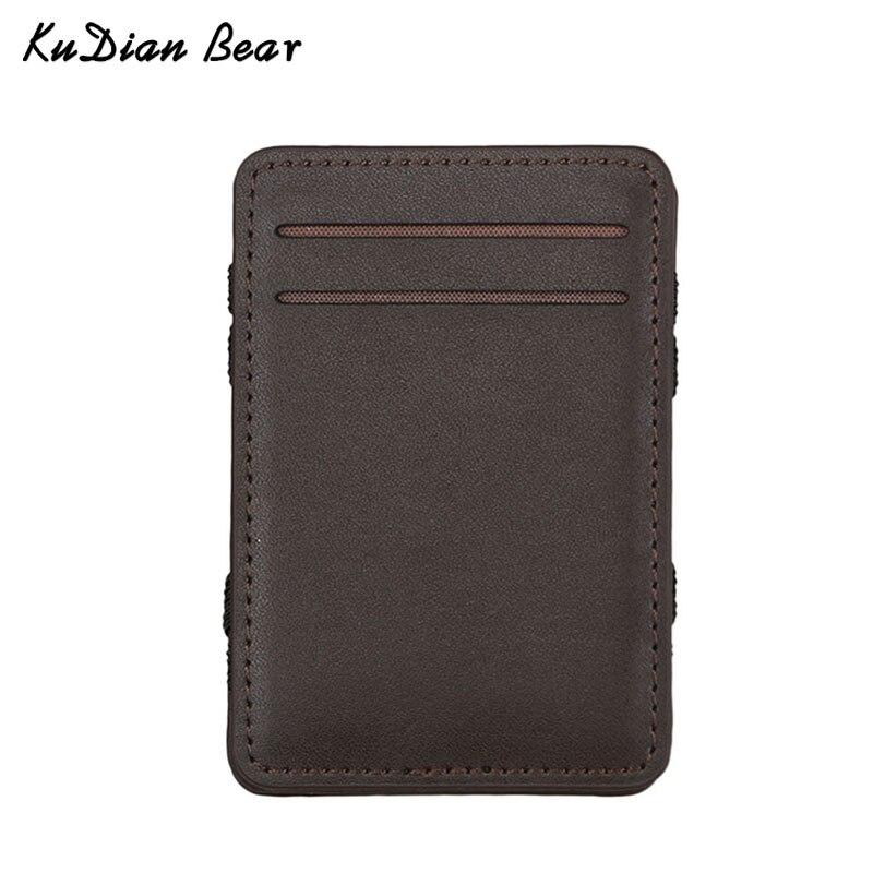 KUDIAN BEAR Leather Men Wallet Magic Brand Designer Money Clip Clamps for Money Short Men Purse Clutch-- BID111 PM49 цена