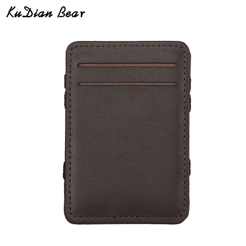 KUDIAN BEAR Leather Men Wallet Magic Brand Designer Money Clip Clamps for Money Short Men Purse Clutch-- BID111 PM49