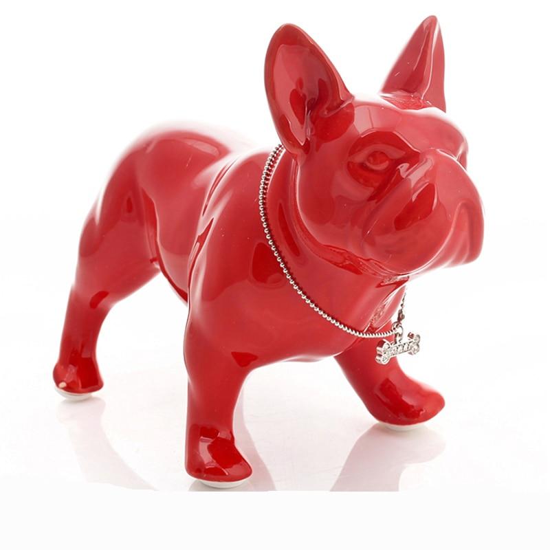 Ceramic French Bulldog Dog Statue Home Decoration Accessories Crafts Room Decoration Dog Ornament Porcelain Animal Figurine Gift