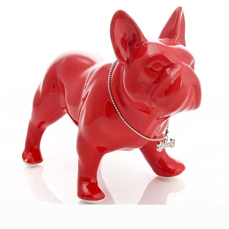 Céramique bouledogue français chien statue décoration de la maison accessoires artisanat chambre décoration chien ornement porcelaine animal figurine cadeau