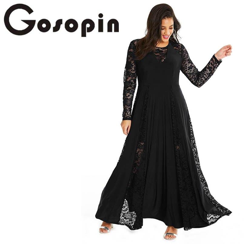 Gosopin Night Party Lace Insert Women Dress Plus Size Sexy Maxi Dress Long Sleeve Elegant 4xl