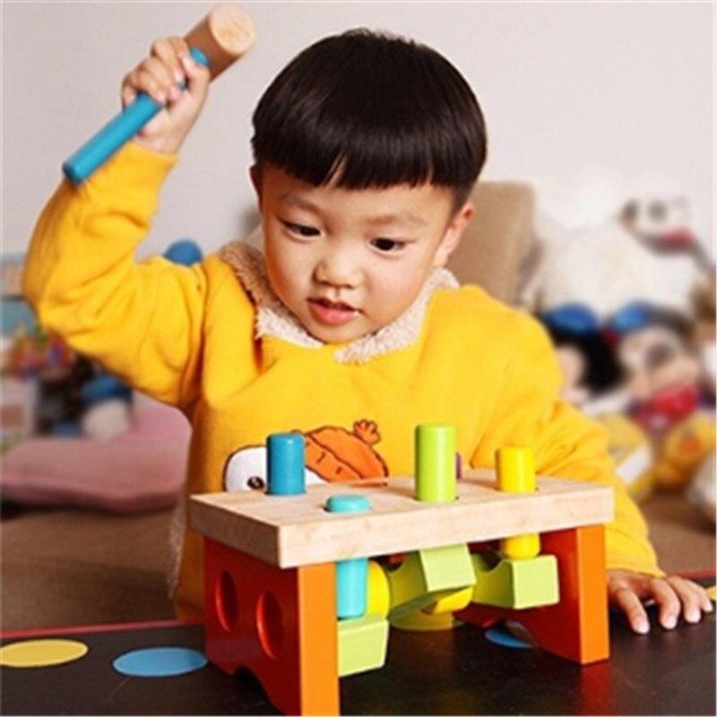 En bois Frapper Marteau Marteau Montessori Jouet Éducatif Pour Enfants Puzzle Oyuncak Bébé Fun Montessori Matériel Sport Blocs
