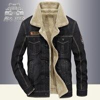 Vintage Mens Jacket Winter Parka AFS JEEP Denim Jeans Coats Windbreaker Warm Thick Fur Inside Bomber