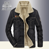 Vintage Mens Jacket Winter Parka AFS JEEP Denim Jeans Coats Windbreaker Warm Thick Fur Inside Bomber