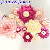 17 adet Çiçekler + 10 adet Yapraklar Simülasyon Karton Kağıt Gül Vitrin Düğün Arka Planında Sahne flores artificiais para decora o
