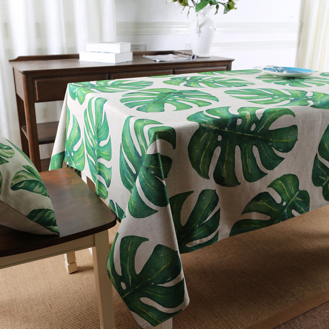 Tropical Forest Botanical Garden Table Cloth Dining Thick Linen Cotton  Tablecloth Coffee Restaurant Home Decorative Cloth