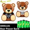 2016 Presentes Marca de Design de Luxo Logotipo MO Urso Power Bank 8800 mAh Urso Bonito Carregador de Bateria Externa Para AllCellphone Quente atacado