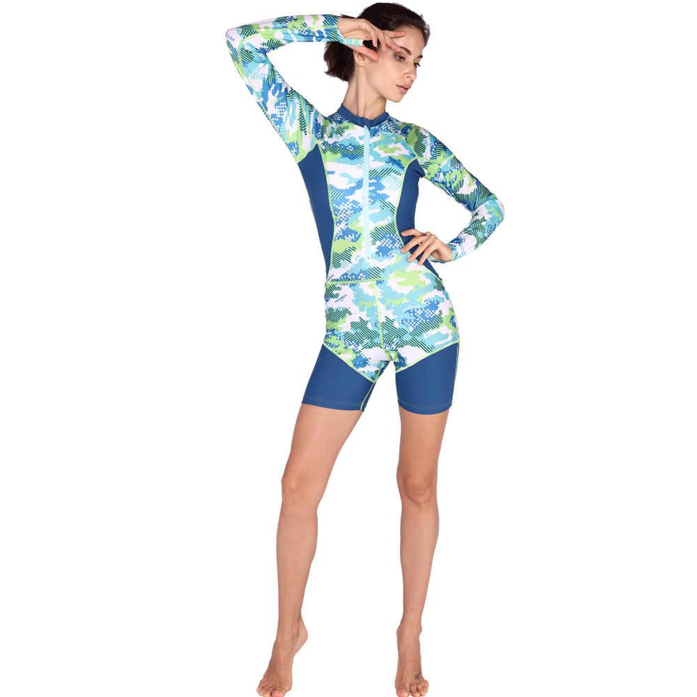 Wanita Surfing Jas One Piece Rashguards Kualitas Tabir Surya Baju Renang Pantai Renang Rash Wetsuit