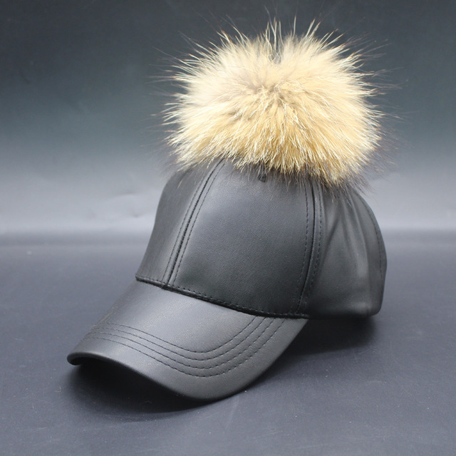 2016 New Real Fur Pom Pom Cap for Women Spring Candy Color PU Baseball Cap with Real Fur Pom Poms Brand New Female Cap