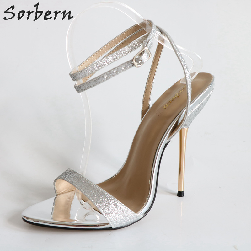 1c7a7f16a63 Sorbern Sexy Silver Glitter Ankle Straps Metal Stilettos Heel ...