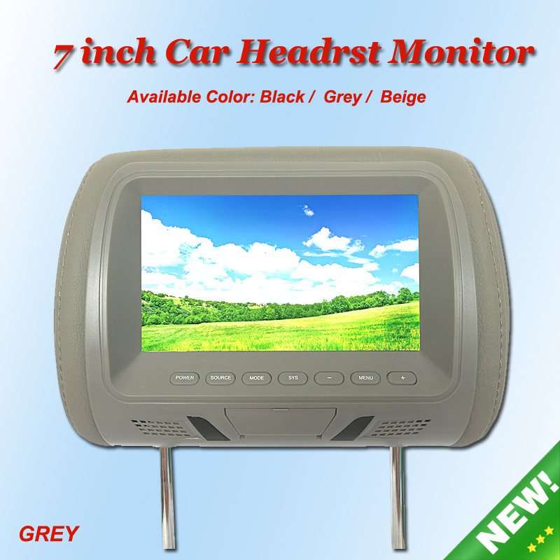 KANOR 2pcs 7 480*234 Screen Car Monitor Headrest Monitor Player with Two Videos Input Black Gray Beige Available