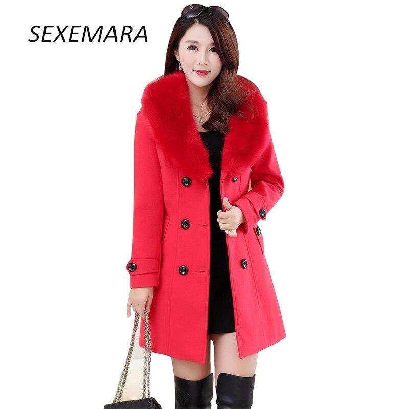 High-quality women's Trench Woolen coat Women 2018 New Autumn Winter Fashion long Slim Fur collar windbreaker coat Female LU120