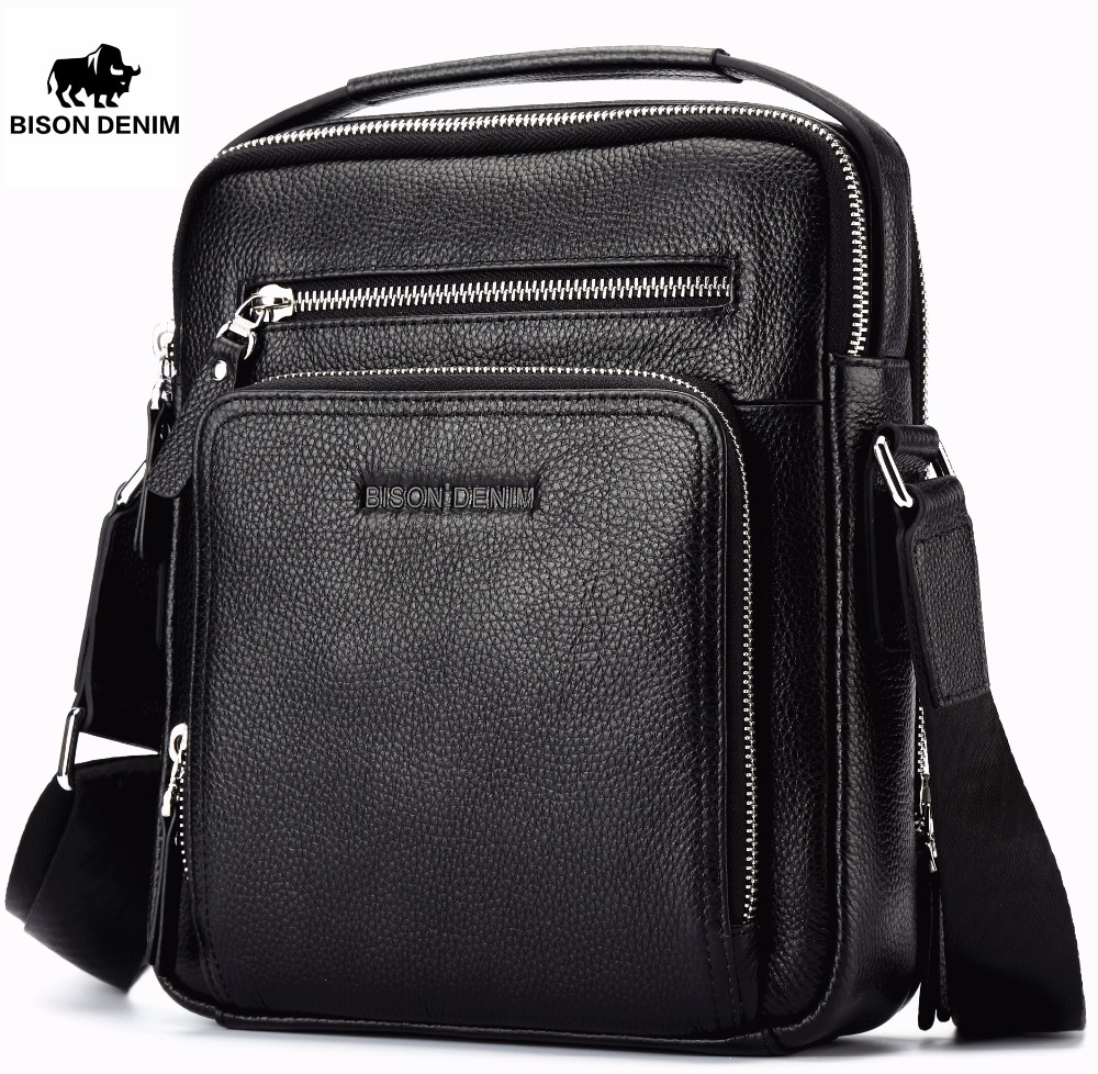 BISON DENIM 2017 Genuine Leather Men Bags Ipad Handbags Male Messenger Bag Man Crossbody Shoulder Bag Men's Travel Bags 2333 bison denim genuine leather men s bag business shoulder crossbody bag christmas gift designer handbags high quality n2333 1